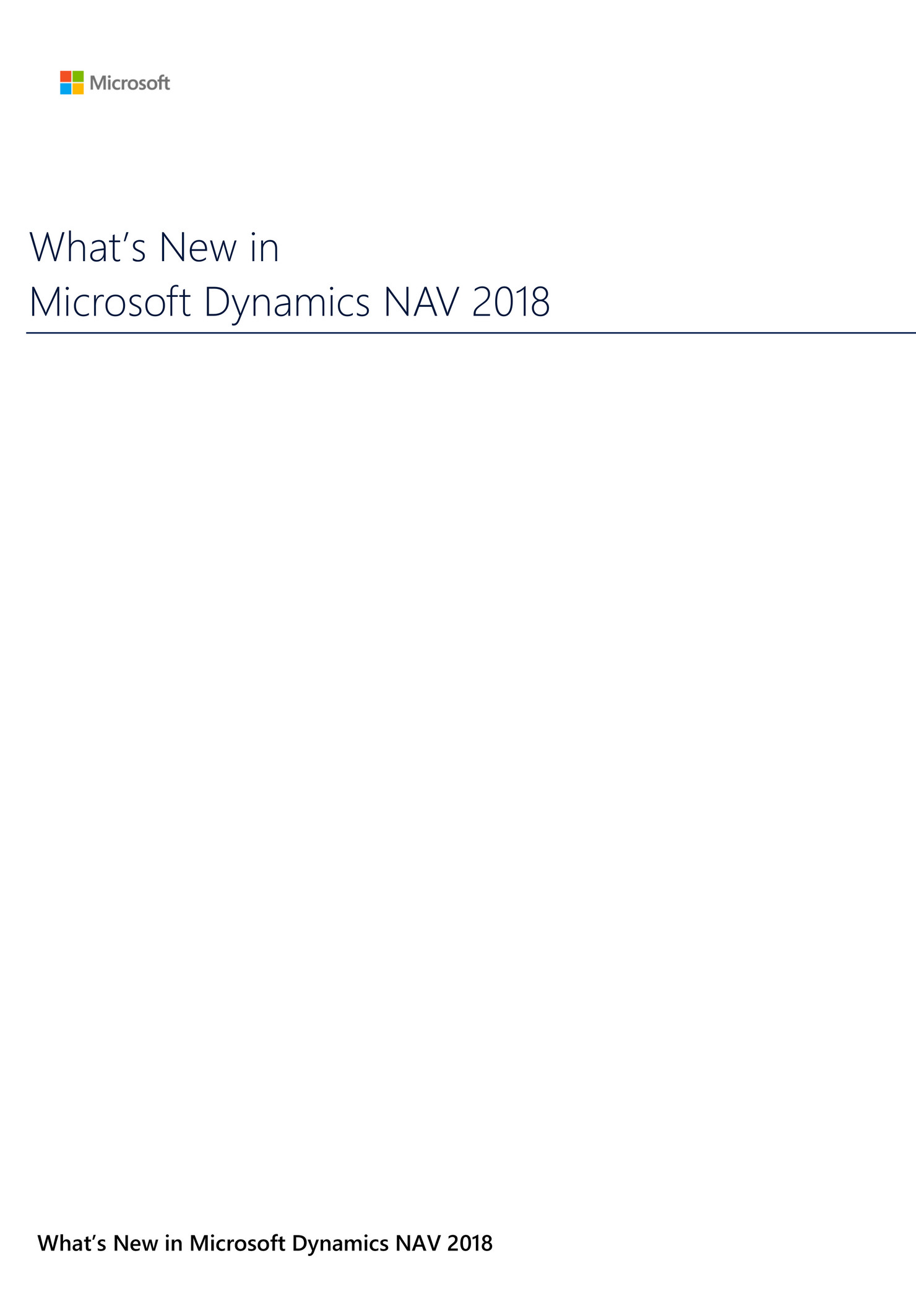 WhitePaper What's New in Microsoft Dynamics NAV 2018